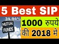 5 best Mutual Fund SIP for 1000 Rupees monthly investment- Return up to 34.90% - best SIP in 2018-19