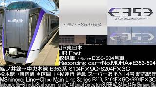 JR東日本 篠ノ井線→中央本線 E353系特急スーパーあずさ14号 走行音 JR East Series E353 Ltd.Exp.SUPER AZUSA No.14 Running Sound