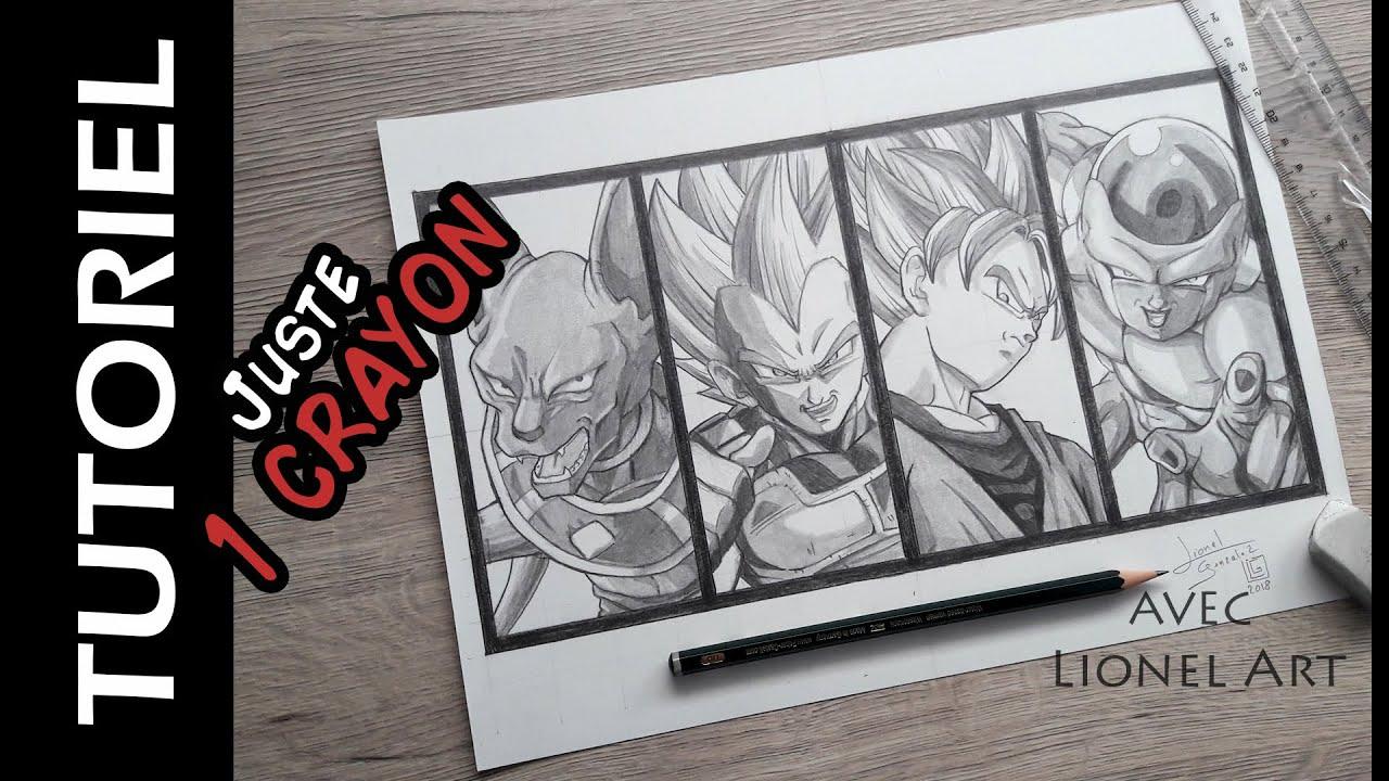 Comment Dessiner Goku Vegeta Beerus Et Freezer Avec 1 Crayon Hb Youtube
