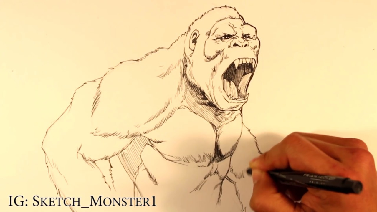 How To Draw King Kong Draw Fantasy Art Youtube