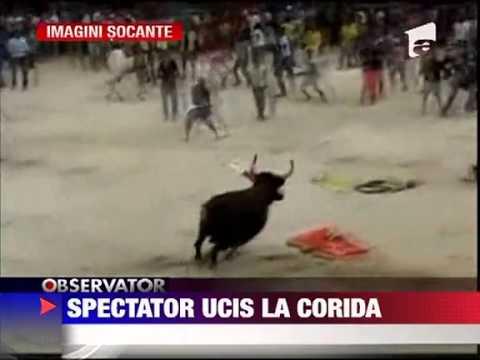 IMAGINI SOCANTE Spectator ucisi de taur la corida 12 AUGUST 2011