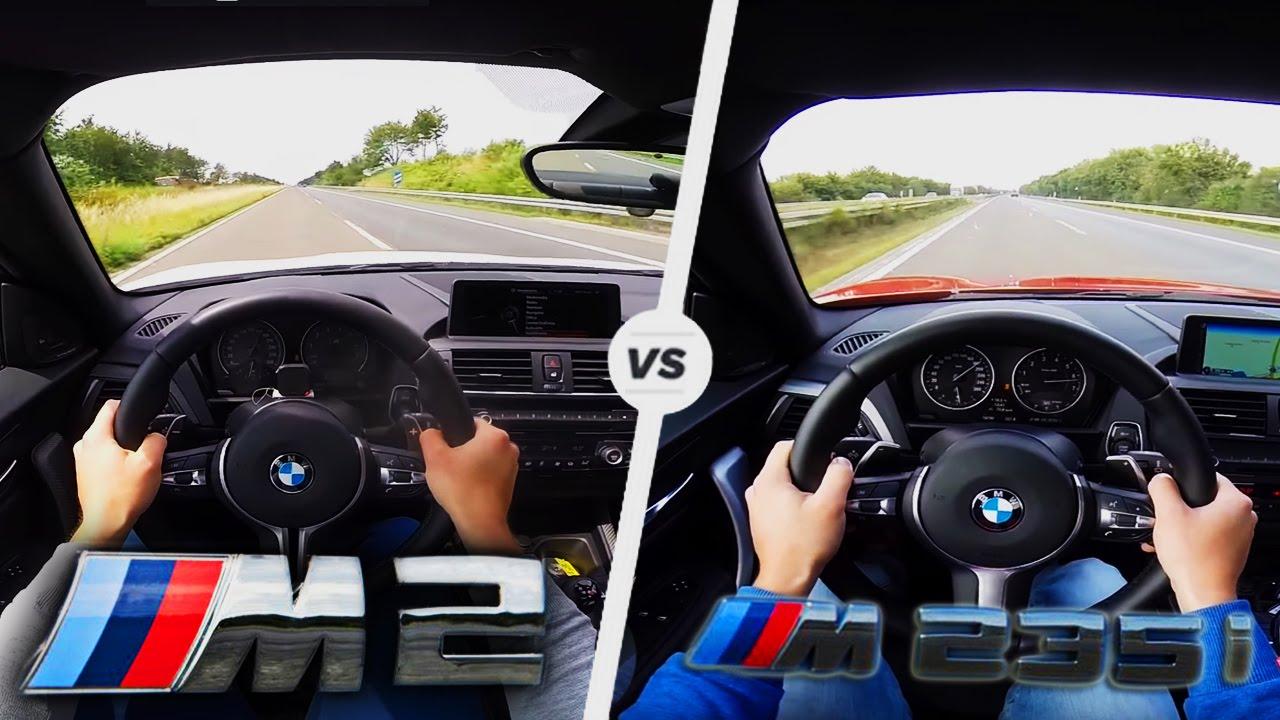 bmw m2 vs m235i acceleration test drive autobahn sound youtube rh youtube com  bmw m2 coupe vs m235i