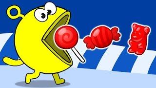 УЧИМ ЦВЕТА. Пакман. Learn Colors. Pacman. Желейный медведь,  чупа-чупс, мороженное.