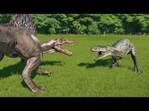spinosaurus-vs-albertosaurus,-allosaurus,-t-rex,-acrocanthosaurus-&-giga---jurassic-world-evolution