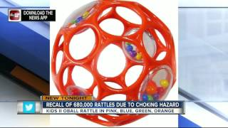 Oball rattles recalled due to choking hazard