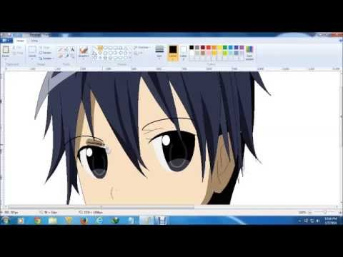 Drawing Kirito From Sword Art Online Ms Paint Youtube