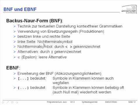 Ue3 Syntaxdiagramme 5 Bnf Und Ebnf Youtube