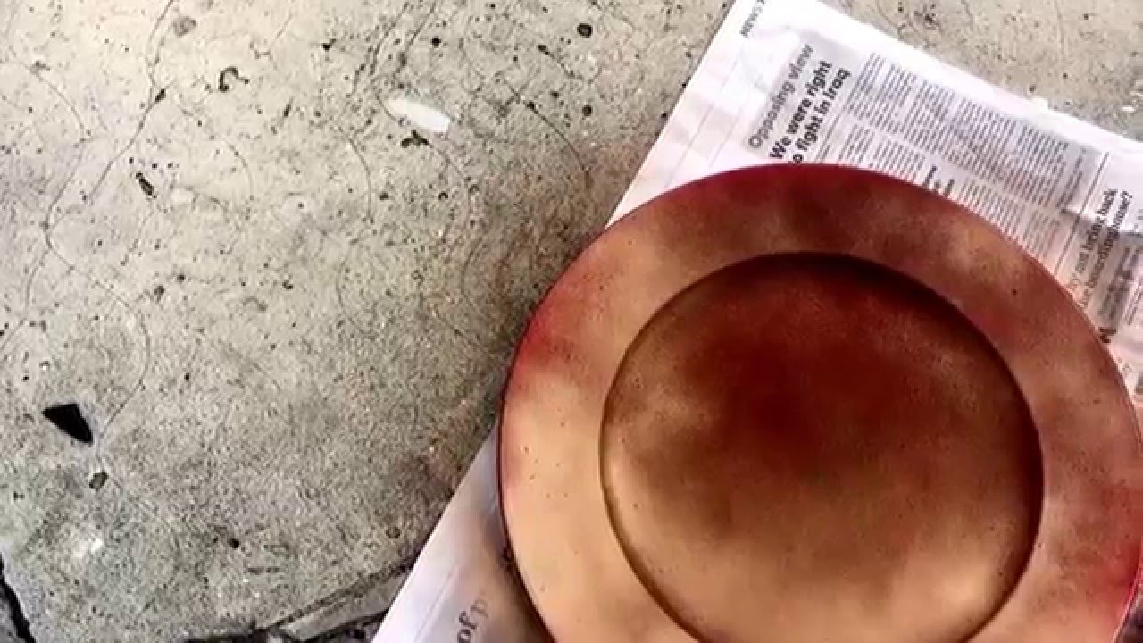 DIY Spray Painting Charger Plates & DIY Spray Painting Charger Plates - YouTube
