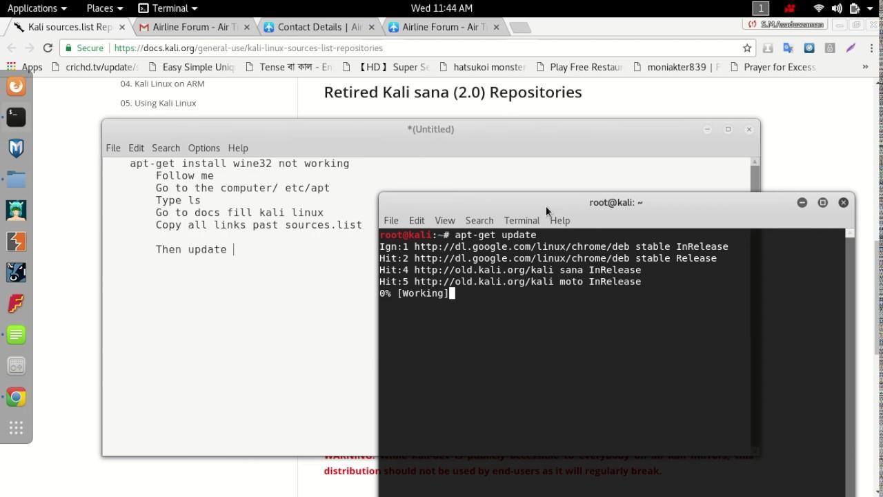 Apt get install wine32 not working kali linux || Wine install || Notepad  install on kali linux