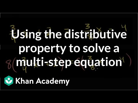 A clever application of the distributive property to solve a multi-step equation | Khan Academy