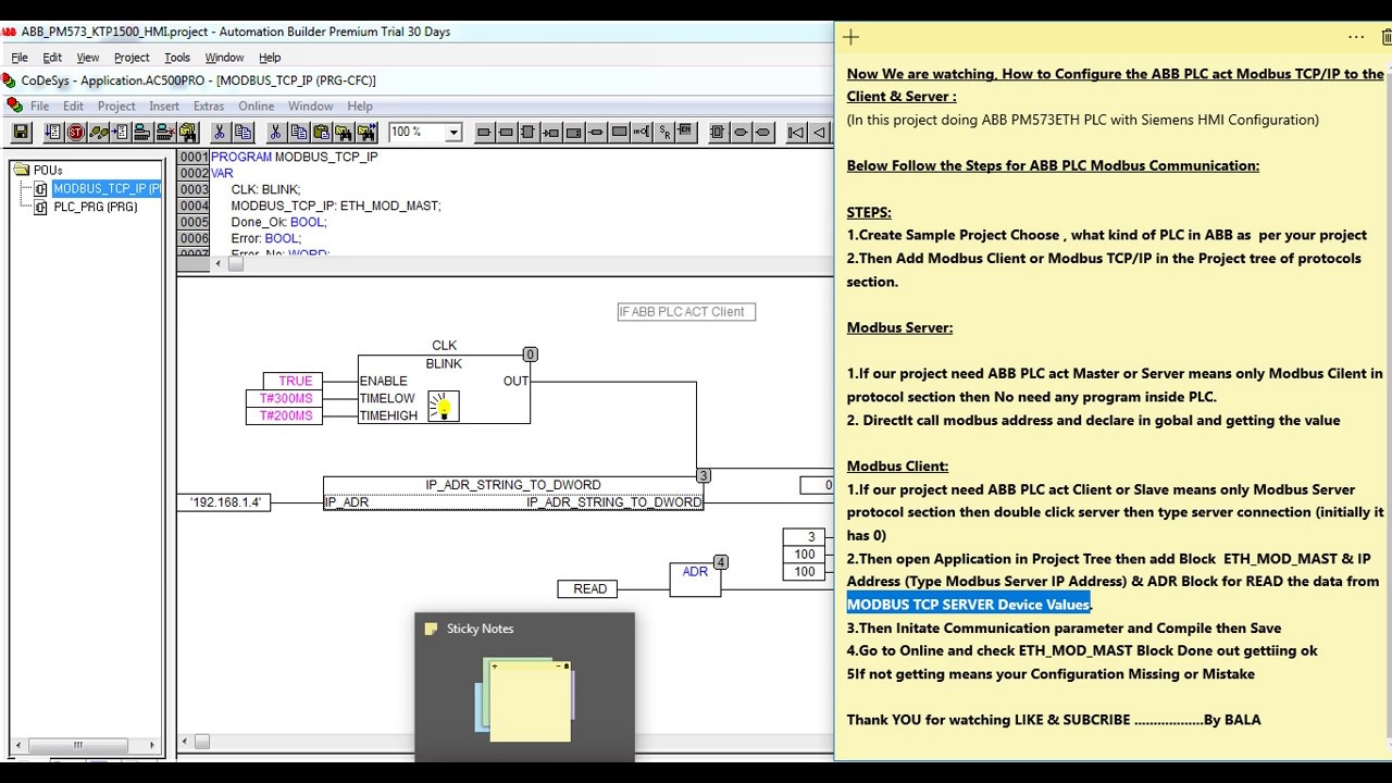 ABB PM573 ETH PLC MODBUS TCP/IP Client & Server Configuration & Program  Downloading Tutorial 1