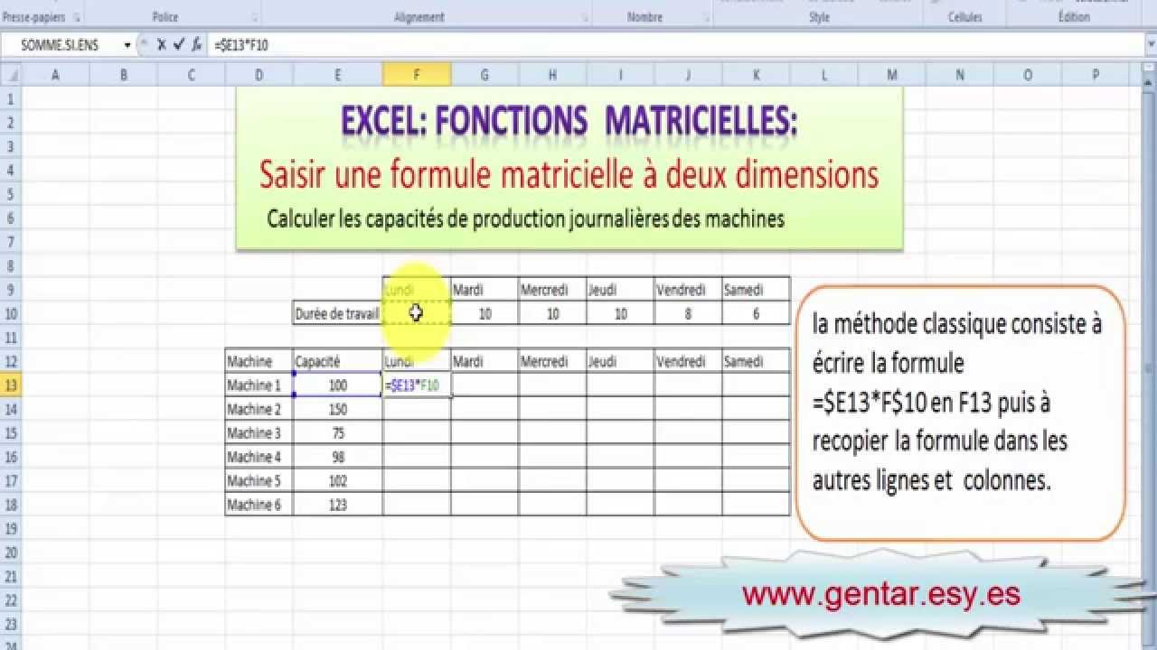 Excel Formules Matricielles Formule Matricielle A Deux Dimensions Youtube