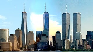Two faces of One World Trade Center, and its originally chamfered base