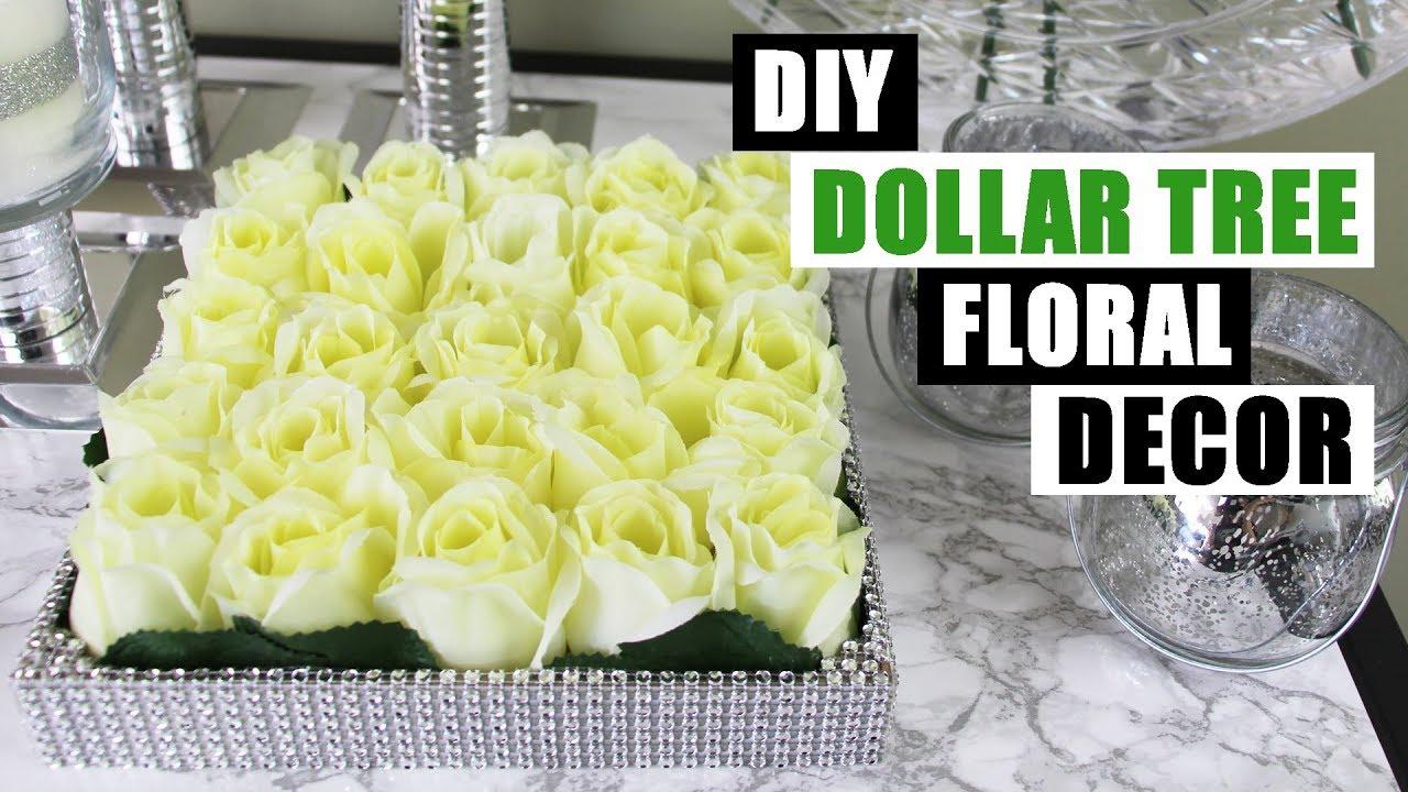DIY DOLLAR TREE BLING FLORAL DECOR Dollar Store DIY Glam Floral ...