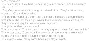 Jokes - A pastor, a doctor and an engineer wait for a particularly slow group of golfers. The engine