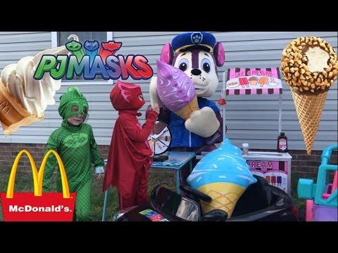 Paw Patrol PJ Masks McDonalds Drive Thru Prank Ice Cream Giant Chase Disney Princess Castle