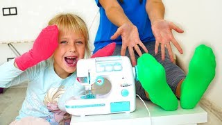 Margo and Mommy playing with Toy Sewing machine #2