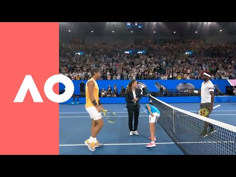 Frances Tiafoe v Rafael Nadal on-court warm up (QF) | Australian Open 2019