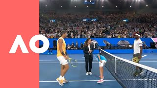 Frances Tiafoe v Rafael Nadal on-court warm up (QF) | Australian Open 2019