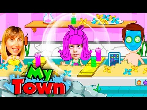 ПАПА с ДОЧКОЙ в САЛОНЕ КРАСОТЫ видео игра для детей My Town спа салон KIDS CHILDREN