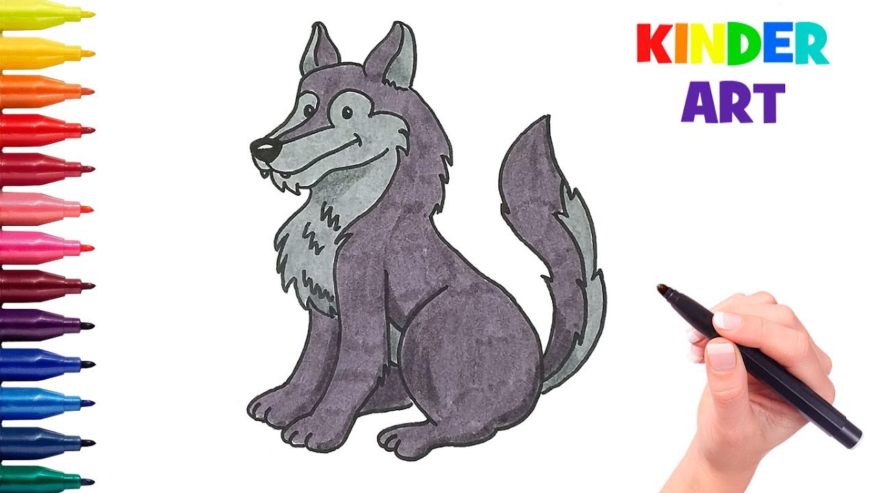 how to draw a cartoon wolf for kids