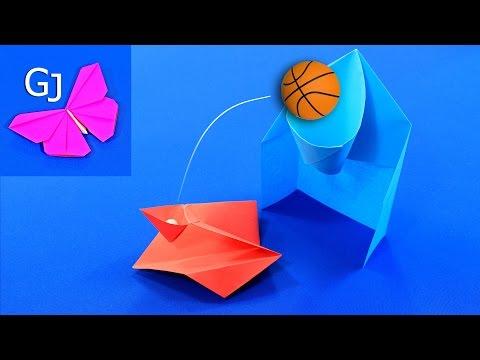 ДВИЖУЩИЕСЯ ОРИГАМИ ❤️ ИГРА Баскетбольное кольцо и катапульта ИЗ БУМАГИ