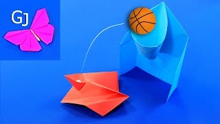Оригами из бумаги :: Игра - баскетбольное кольцо и катапульта