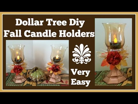 Dollar Tree Diy Fall Candle Holders 🍂 Super fast and easy Diy