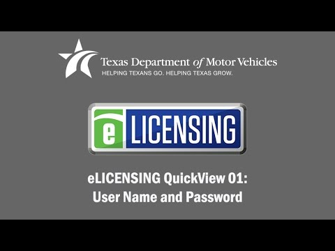 eLICENSING QuickView 01: User Name and Password