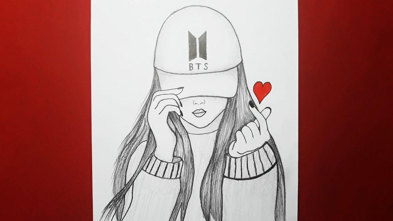 BTS Şapkalı Güzel Kız Nasıl Çizilir / BTS ARMY