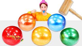 Rainbow clolor Candy Ball Mukbang  레인보우 사탕공 깨기 챌린지 JiniYum 지…