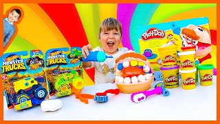 Play-Doh Dentist and Hot Wheels Monster Trucks Pretend Play
