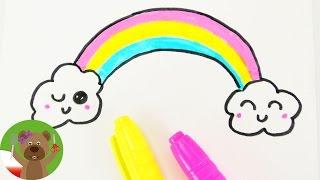 Malowanie i Rysowanie | tęcza Kawaii | prosty obrazek dla dzieci
