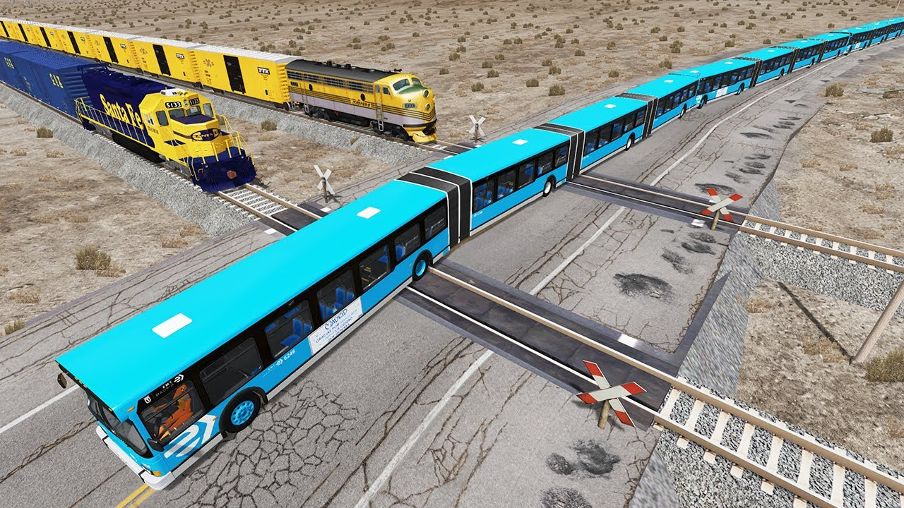 Long Articulated Bus Accident on Railway #2 - Beamng drive