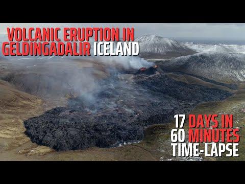 17 Days, 60 Minutes - Volcanic Eruption in Geldingadalir Iceland - Time-Lapse