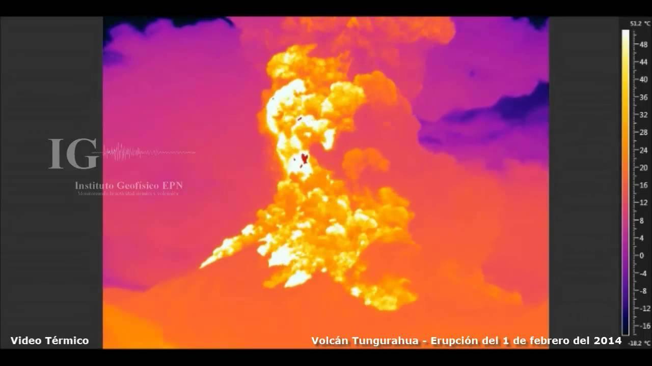 Volcán Tungurahua Cámara Termica Erupción 1 De Febrero Del 2014 Youtube
