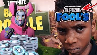 NEW FORTNITE APRIL FOOLS PRANK ON MY 9 YEAR OLD SON! 1 KILL = 2500 V-BUCKS & RABBIT RAIDER SKIN!