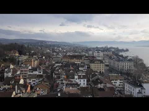 View over Zurich from a tower of Grossmünster, Zurich, Switzerland