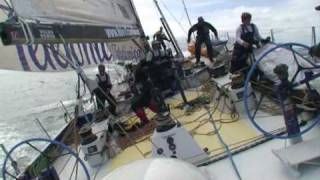 Telefonica Blue collides into a rock after the start of Leg 9. (1/2)