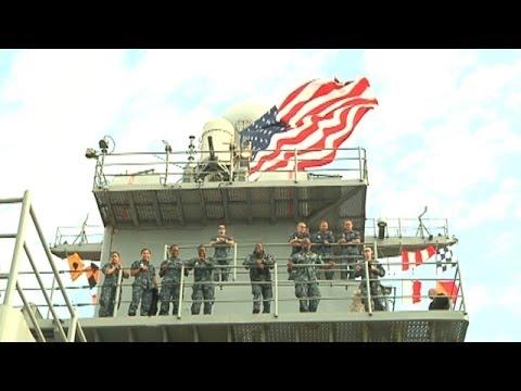 KT McFarland on the USS Oak Hill for Fleet Week