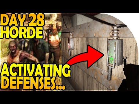 DAY 28 HORDE ATTACK - BASE DEFENSES *TOO DEADLY* - 7 Days to Die Alpha 16 Gameplay Part 56 S2