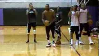 LeBron James Dunks in Practice (throws ball off the wall)