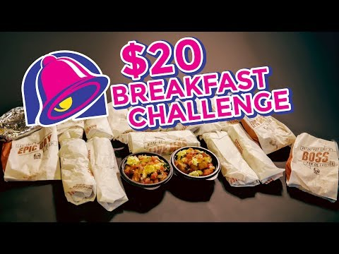 TACO BELL BREAKFAST $20 Value Menu Challenge!!