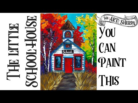 Fall  School House Easy Acrylic Painting Step By Step 🍁#LovefallArt2019