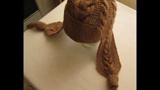 ВЯЗАНИЕ СПИЦАМИ ШАПКА С УШКАМИ С УЗОРАМИ КОСЫ! Видео урок.  knitting.