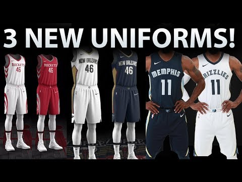 HOUSTON ROCKETS, NEW ORLEANS PELICANS, MEMPHIS GRIZZLIES NEW UNIFORMS!