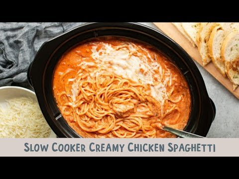Slow Cooker Creamy Chicken Spaghetti