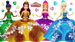 DIY Making Play Doh Sparkle Dresses for Disney Princess Dolls