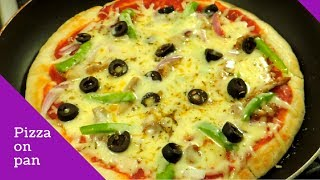 How To Make Pizza On Pan Or Tawa - How To Make Pizza Without Oven by (HUMA IN THE KITCHEN)