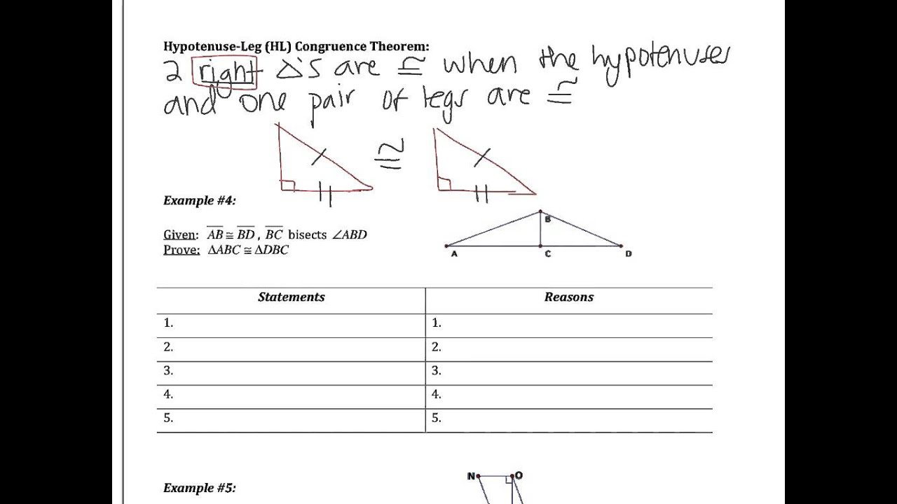 Worksheets Triangle Congruence Proofs Worksheet 4 prove triangles congruent by sas and hl youtube